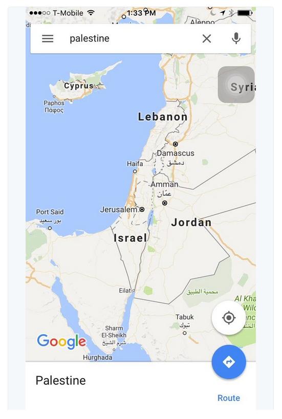 Google a supprimé le nom de Palestine de ses cartes et l'a remplacé par Israël.